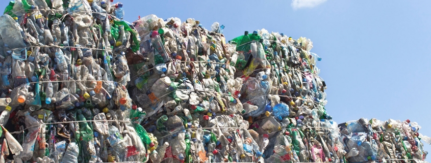 Bales of recycled plastic.